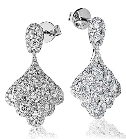 2.30CT Certified G/VS2 Round Brilliant Cut Micro Set Grape Cluster Diamond Drop Earrings in 18K White Gold