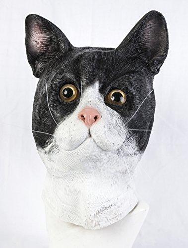 The Rubber Plantation TM 619219293501schwarz und weiß Latex Katze Maske Feline gestromt Tom Animal Halloween Kostüm Zubehör, Unisex, ONE SIZE (Katze Maske Latex)