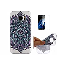 For Galaxy S7 Edge Case [With Tempered Glass Screen Protector],Fatcatparadise(TM) Anti Scratch Transparent Soft Silicone Cover Case ,Colorful Cute Pattern Ultra Slim Flexible Non-Slip Design TPU Protective [Crystal Clear] Shell Bumper Case Prefect Fit For