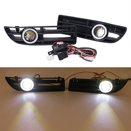 Preisvergleich Produktbild LED Nebelscheinwerfer Weiß Angel Eyes Licht vorne Bumper Gitter Grill für 1999–2004VW Jetta Bora