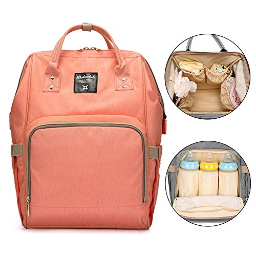 Preisvergleich Produktbild Bonamana Multifunktions-Großraum-wasserdichte Baby-Windel-Rucksack-Beutel-Windel-Einkaufstasche-Spielraum-Rucksack-Windel-Beutel (Orange)