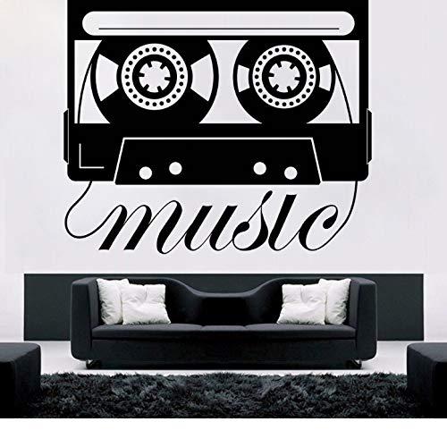xiaoshuaige Musik Stil Wandtattoo Musik Kassette Wandaufkleber Tonbandgerät Design Wandbild Musik Player Aufkleber FürWohnkultur 67x57 cm (Bibel-kassette)