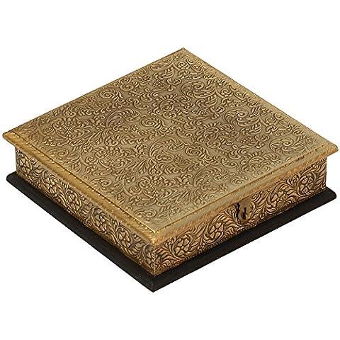 gioielli gingillo scatola - 20,3 cm - d'oro - Fatto a mano di legno scatola decorato in ottone - regalo per lei - Anello Fatto A Mano In Oro