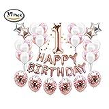 ICheap Konfetti Latex Luftballons Rosegold Weiß, Happy Birthday Ballons, 1st Geburtstag für Baby Shower Girl Adult Geburtstag Party Dekorationen