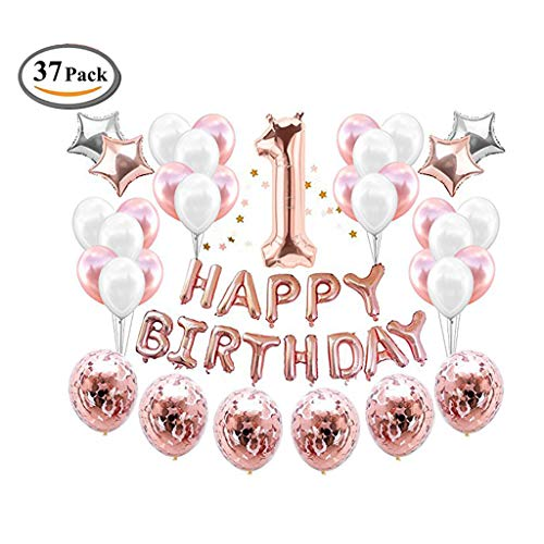 ICheap Konfetti Latex Luftballons Rosegold Weiß, Happy Birthday Ballons, 1st, 2nd, 12th, 21st Geburtstag für Baby Shower Girl Adult Geburtstag Party Dekorationen (21st)