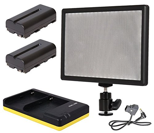 Np-led (AVtec LedPAD X52 Set Bi-Color LED Leuchte + 2X NP-F550 + Ladegerät + D-Tap Kabel)