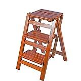 JU FU Scaletta pieghevole in legno Sgabello pieghevole in legno per adulti e bambini Scale da cucina Sgabelli piccoli Sgabello da lavoro portatile/Portafiori @
