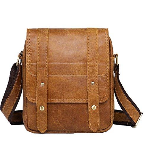 Yy.f Leder Mann Tasche Neue Tasche Vertikalschnitt Quadratisch Businesstaschen Weiche Abnutzung Schulterbeutel Kurierbeutel Praktische Innen Brown