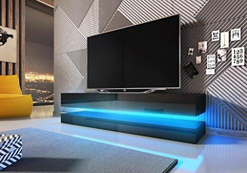 Vivaldi Mueble TV Design Fly Negro Mate con Negro Brillante. Eclairage a la LED Azul