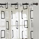 Top Finel Rideaux Voilages de fenêtre Motifs Carrés Géometriques à oeillets 140 cmx 245 cm, un panneau, Noir et Blanc
