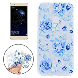Crazy4Gadget For Huawei P10 Lite Colorful Blue Flower Pattern Transparent TPU Protective Case