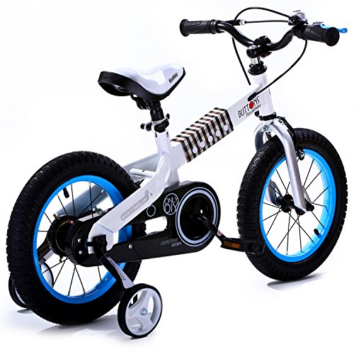 R BABY BUTTONS FREESTYLE BMX KIDS BIKES + HEAVY DUTY REMOVABLE STABILISERS, WHITE FRAME-BLUE WHEEL, IN SIZE 16 INCH