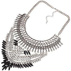 YAZILIND Declaración de Estilo étnico Rhinestone de la Resina del Babero del Collar del Collar del ahogador de Regalo de la joyería de Las Mujeres Plateado