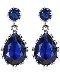6a7b6931152b YUJUEE Aretes De Moda Mujer Elegantes Aretes Azul Claro De La Gota De Agua  Grande Estilo De Zirconio Cúbico Regalo…