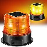 Energia Solare Luce Stroboscopica a LED, Ambrata e Magnetica, Spia Lampeggiante di Emergenza, Spia Attenzione per Veicolo Camion Rotazione, bruciatura fissa 4 diverse modalità