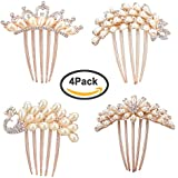 Pack Of 4 Wedding Hair Combs Rhinestones Crystal Bridal Hair Pieces Side Comb Women Hair Decoration