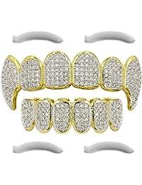Grillz 24 K chapado en oro Out helado Grillz con micropave CZ Diamantes y colmillos + 2 barras de moldeado
