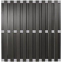 WPC Sichtschutzzaun Malmö 180x180 cm, anthrazit mit Aluminium Streben -EXTRA STABIL-