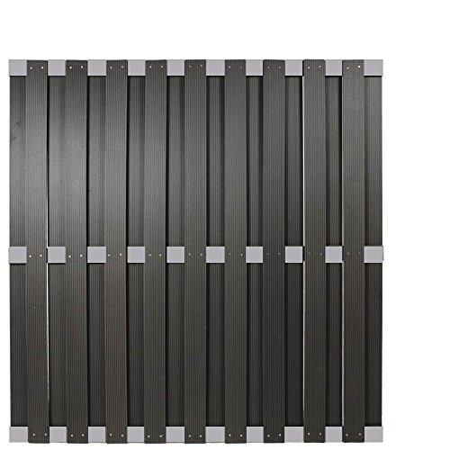 WPC Sichtschutzzaun Malmö 180×180 cm, anthrazit mit Aluminium Streben -EXTRA STABIL-