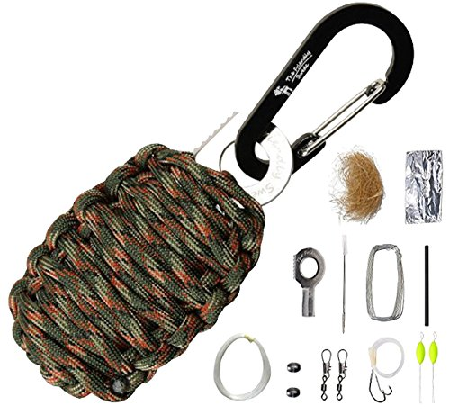 The Friendly Swede Paracord Karabiner Survival-Kit mit Messer - Überlebens-Ausrüstung für Den Notfall