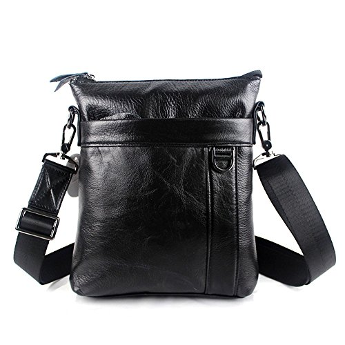 Stepack Marca Messenger Bag uomini di modo Genuine Leather Shoulder Bag semplice (caffè scuro) Nero