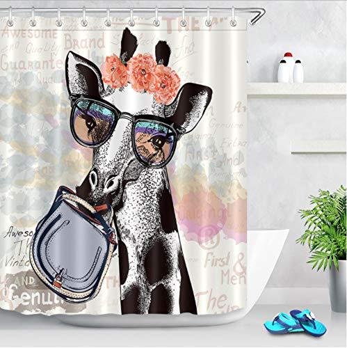 XQWZM Giraffe In Hipster Brille Halten Weiblichen Beutel Extra Lange Duschvorhang Set Bad Wasserdichtes Gewebe Für Kunst Badewanne Badewanne Decor, 180X180 cm