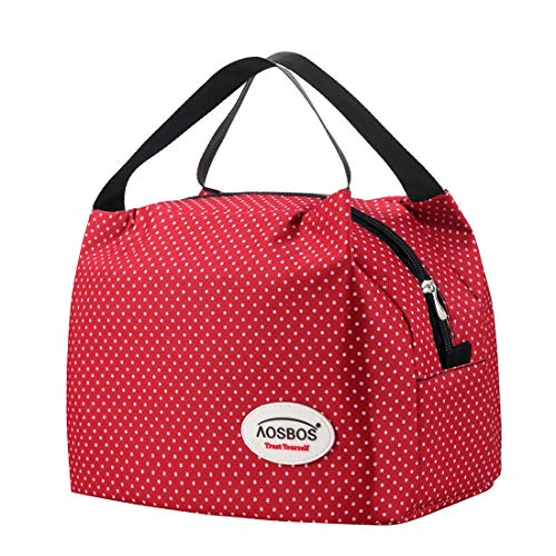 Kühltasche Klein Leicht Lunch Tasche Isoliertasche zur Arbeit Schule Faltbar Wasserdicht Reißverschluss 6,5L Punkt Rot -