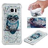 E-Mandala Samsung Galaxy S6 Hülle Glitzer Flüssig Liquid Glitter Case Cover Handyhülle Schutzhülle Transparent mit Muster Durchsichtig Tasche Silikon - Süße Eule