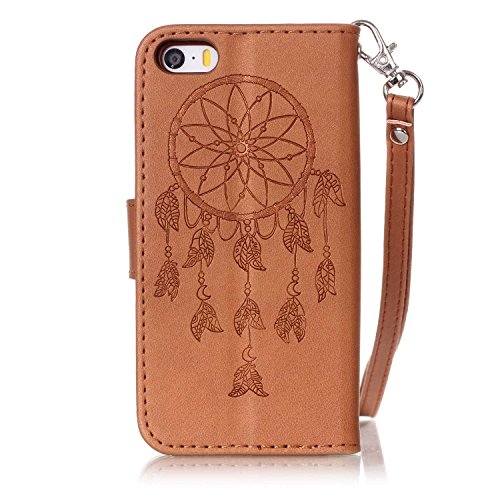 Custodia Libro per iPhone 5S,BtDuck Ultra Sottile PU Pelle Borsa e Portafoglio Tasca Campanula Modello Libro Stand Case Cover Morbido Silicon Gel Back Case Bumper Cover Custodia in Premium Flip Cover  #A Marrone