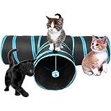 FORET TERRAIN Chat jouet, Chat 3 Canaux en Noir et bleu à Jouer Chat Activité avec La balle à l'entrée d'un tunnel pour lapins, Chatons et les petits chiens