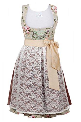 Edles Midi Dirndl 3-tlg. Blumen exclusive inkl. passender Bluse und Schürze Gr. 32-52 Braun