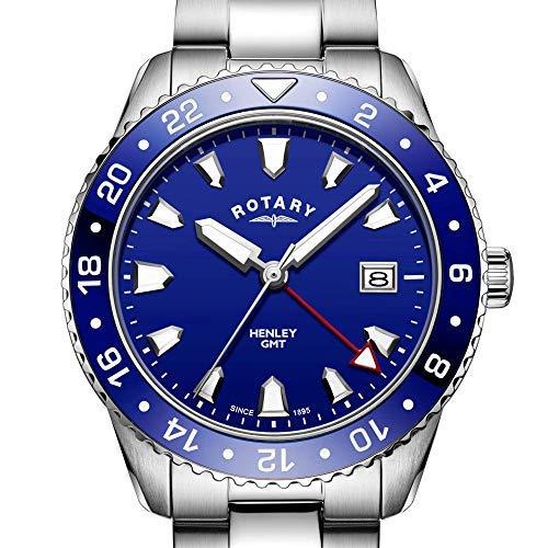 Rotary - Orologio analogico da polso da uomo, in acciaio INOX, colore: blu GMT Henley
