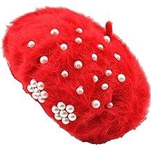 Chica Mujer Dama Moda Otoño-Invierno 4 Opciones de Color Perla Gorra Boina