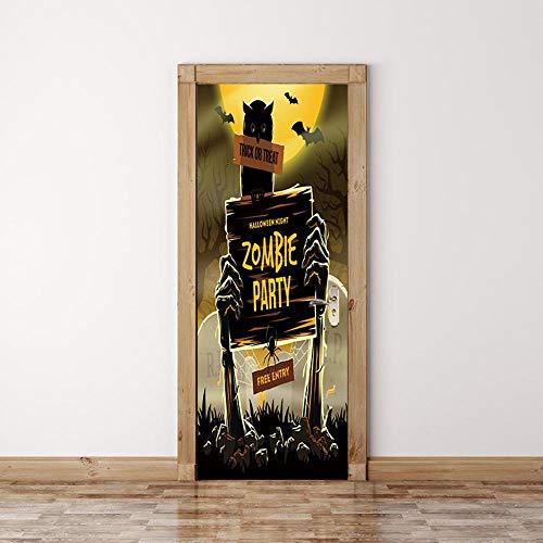 3D Türsticker Türen Aufkleber Halloween-Zombie-Zeichen 80X200CM PVC Aufkleber Tapete europäisch Wandbild dreidimensional Kunst selbstklebend Illustration DIY Landschaft Wandaufkleber