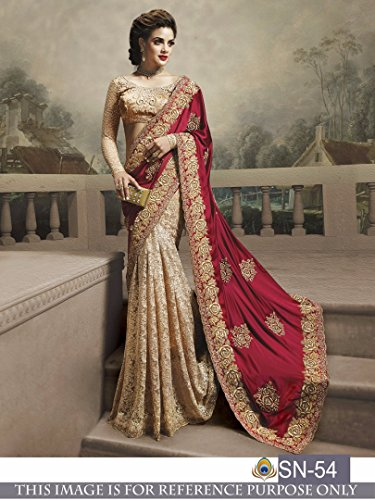 Sunshine Fashion Women's Georgette and Rasal Net Embroidered Saree with Blouse Piece...