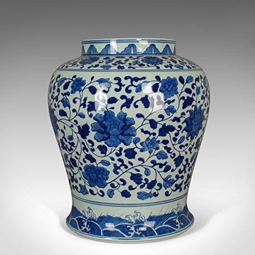 London fine di antiquariato vintage cinese baluster barattolo, orientale blu e bianco vaso, ceramica mid-late c20th