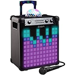 ION Audio Party Rocker Max - Altavoz 100 W con Bluetooth, batería recargable, cúpula de luces de fiesta y rejilla, micrófono incluido