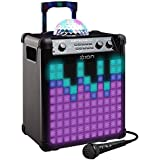 ION Audio Party Rocker Max - Altavoz 100 W con Bluetooth, batería recargable, cúpula de luces de fiesta y rejilla + micrófono incluido