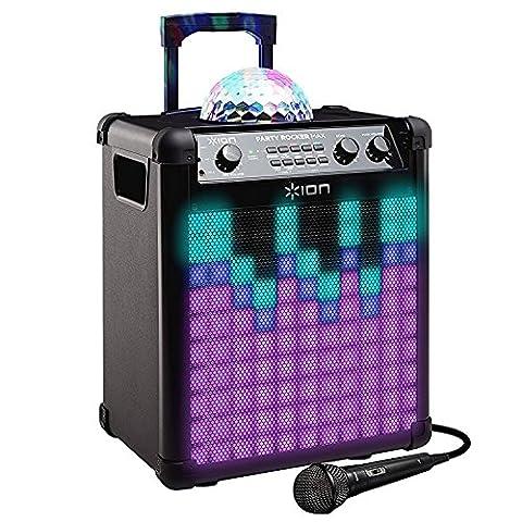 ION Audio Party Rocker Max - Sono 100W Bluetooth Portable et Rechargeable Longue Autonomie avec Dôme et Façade LED Disco avec Microphone Inclus