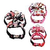 Lai-LYQ Hundegeschirr, verstellbar, Blumenmuster, mit Schleife, Brustgurt, Größe S, Rosa