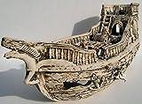 Deko Aquarium Boot XXL Höhle Wrack Fische Keramik Dekoration Schiff