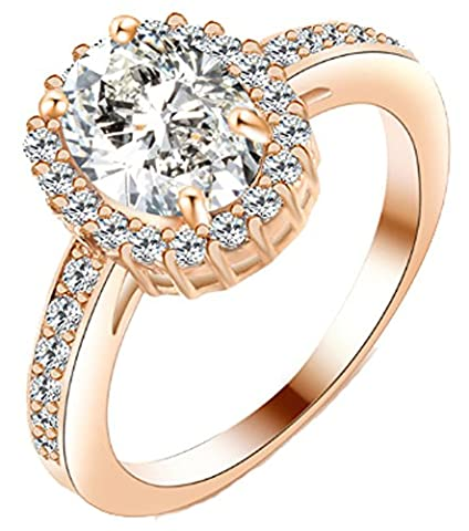 SaySure - Rose Gold Color Silver Color Classic Oval Big (SIZE : 6)