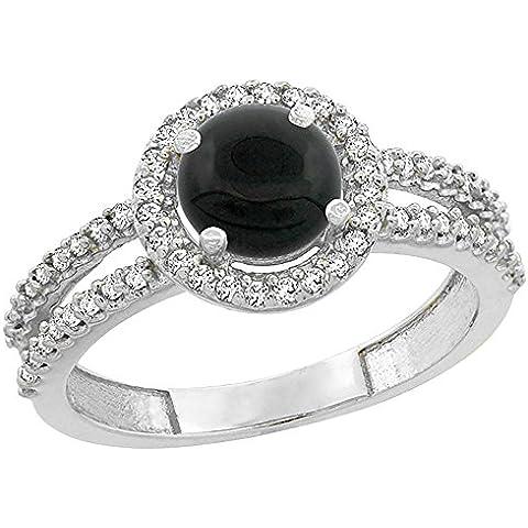 Revoni, oro bianco 14 k con diamanti, colore: nero Onyx Halo-Anello porzionatore, rotondo, 6 mm