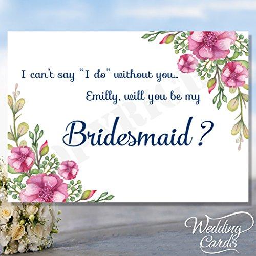 Will You Be My Bridesmaid Maid of Honour Geschenkschachtel Matron of Honour Blume Chief Flower Girl Laden Karte Postkarte Braut Bräutigam Hochzeit -