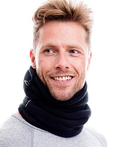 Hilltop Polar Multifunktionstuch/Mütze / Motorradmaske/Skimaske / Kälteschutz/Gesichtsmaske / Halswärmer/Polar Halstuch mit Kordelzug 100% Fleece, Design/Farbe:schwarz mit Teddy Fleece