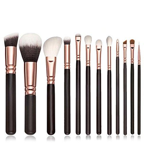 pinceaux de maquillage, Yogogo 12pcs Coffret Essentiels Pinceaux de maquillage professionnels Cosmétique Brosse à paupières Noir