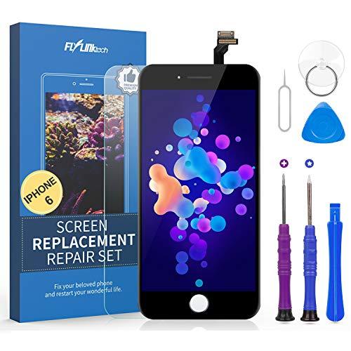 flylinktech display lcd touch screen schermo per iphone 6 nero vetro digitizer parti di ricambio kit smontaggio trasformazione completo di ricambio - utensili inclusi