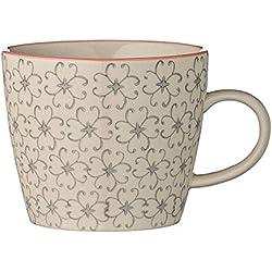 Bloomingville Cecile Tasse mit Henkel grau Kaffeetasse Porzellan handbemalt