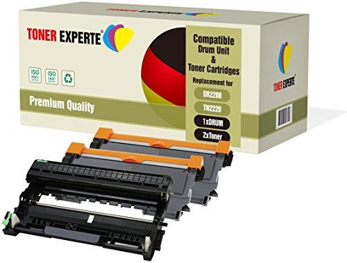 3-er Pack TONER EXPERTE® Trommel & 2 Toner kompatibel zu DR2200 TN2220 für Brother DCP-7055 DCP-7060D DCP-7065DN HL-2130 HL-2132 HL-2135W HL-2240 HL-2240D HL-2250DN HL-2270DW MFC-7360N FAX-2840