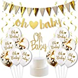 KREATWOW Baby Shower Dekorationen Gold und weiß Geschlecht Neutral Liefert Jungen oder Mädchen mit 'oh Baby' Brief Banner Cake Toppers Konfetti Ballons und Gold Swirl Pack